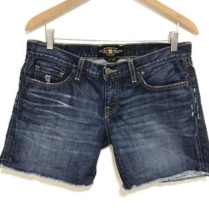 Lucky brand denim shorts raw hem dark wash
